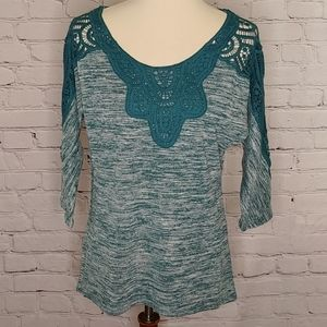 TEAL DOLMAN KNIT TOP WITH CROCHET DETAIL